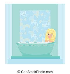 spa, senhora, em, aromático, banho