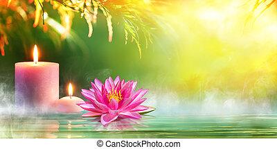spa, -, serenidade, e, meditação