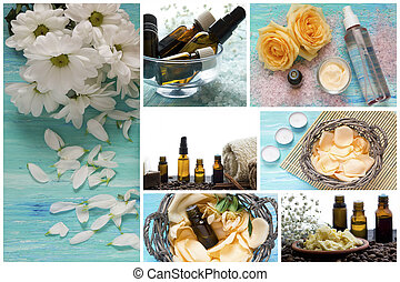 Spa-series. Collage of relaxing products. sea Sal, essential oils, flower petals
