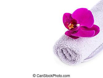 spa:, serviette, orchidée