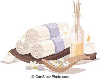 spa, serviettes, vector., arôme