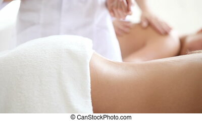 Spa session - Women having stone therapy at spa session