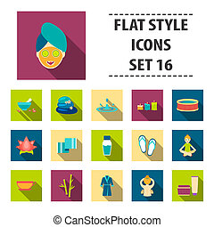 Spa set icons in flat style. Big collection spa bitmap,raster symbol stock illustration