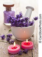 spa, set, met, lavendel, bloemen