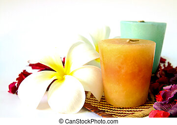 spa set with candles and flowers