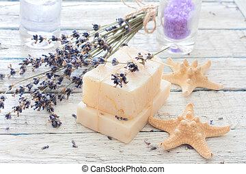 Spa set with lavender, handmade soap,sea salt and seastars