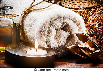 Spa setting in brown tone - Spa setting with towel and ...