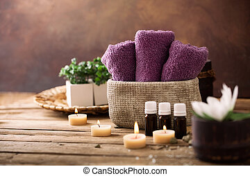 Spa setting - Spa and wellness setting with flowers and ...