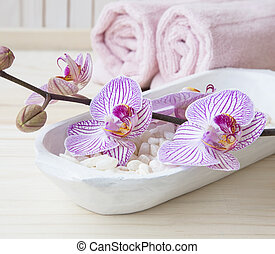 Spa setting still life with orchid