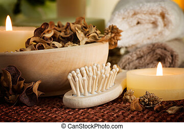 Spa setting with potpourri and candles