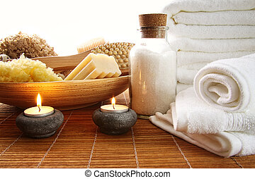 Spa setting with candles