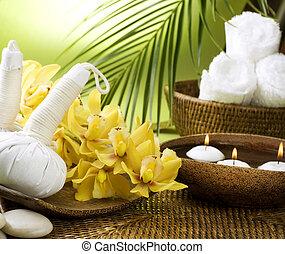 spa, settings., thailändisch, massage
