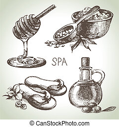 Spa sketch icon set. Beauty vintage hand drawn illustrations...