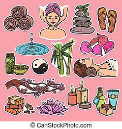 Spa sketch icons color