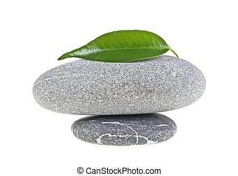 spa, steine, mit, blatt, freigestellt, weiß, hintergrund