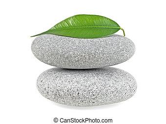 spa, stenen, met, blad, vrijstaand, op wit, achtergrond