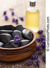 spa, stenen, zout, en, lavendelblauwe olie