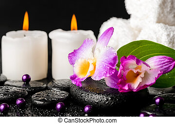 spa still life of purple orchid dendrobium, leaf with dew, towels, white candles and pearl beads on black zen stones, closeup