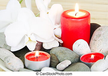 Spa Still Life of Stones, Candles and Orchids