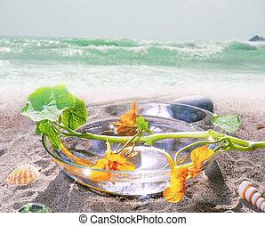 spa still life on beach