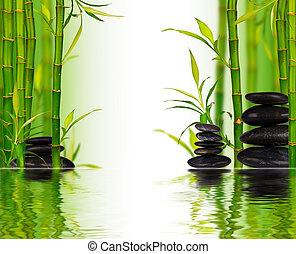 Spa bamboo background with water surface