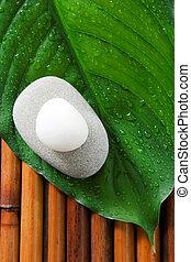 Spa still life - Two stones on a fresh green leaf. Zen, spa...