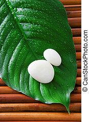 Spa still life - Two white stones on a fresh green leaf....