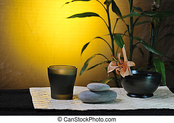 spa still life with bamboo