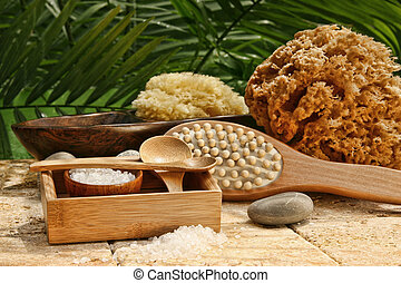Spa still life with bath salt and brushes