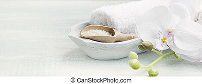 Spa still life with bath salt