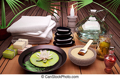 Spa still life with burning candles, clay mask.