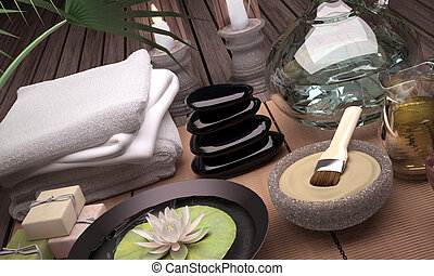 Spa still life with burning candles, clay mask and flower of an water Lily on wooden background.