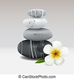 Spa still life with frangipani flower - Spa stone with...