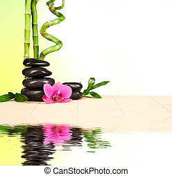 Spa still life with lava stones and bamboo sprouts with free...