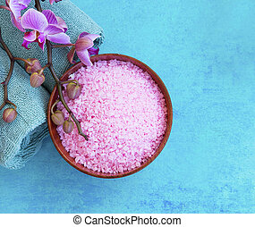 Spa still life with orchid and bath salt