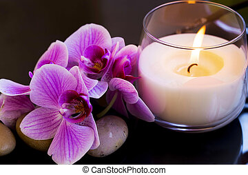 Spa still life with orchid and candle