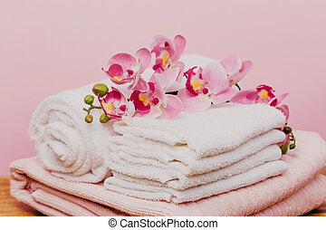 Spa still life with orchid flower and towels - Image.