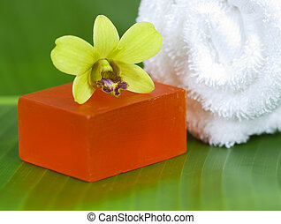 Spa still life with orchid on banana leave