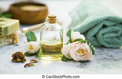 Spa still life with rose oil - spa still life with rose oil ...