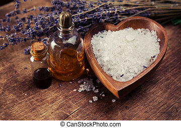 SPA still life with sea salt and a variety of aromatic oils