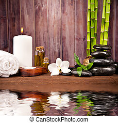 Spa still life with water reflection