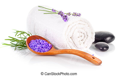 Spa still life with white towel and lavender salt