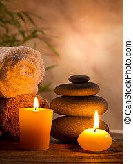 spa, stilleben, mit, aromatisch, kerzen