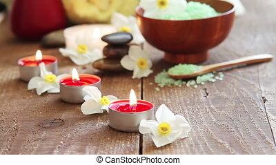 spa, stilleven, bevatten, baad zout