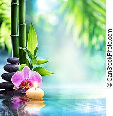 spa, stilleven, -, kaarsje, en, steen