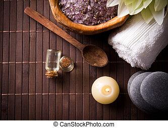 spa, stilleven, met, aromatisch, kaarsje