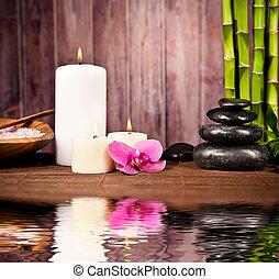 spa, stilleven, met, bewateer weerspiegeling
