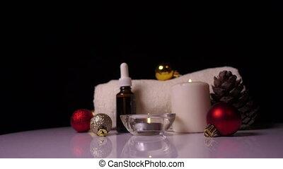 spa, stilleven, met, het overzeese zout schrobt, en, bloem, badkamer