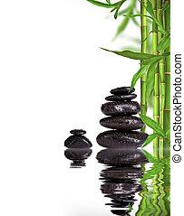 spa, stilleven, met, lava, stenen, en, bamboe, spruiten, met, kosteloos, ruimte, voor, tekst
