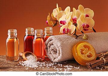 spa, stilleven, met, wezenlijke olies